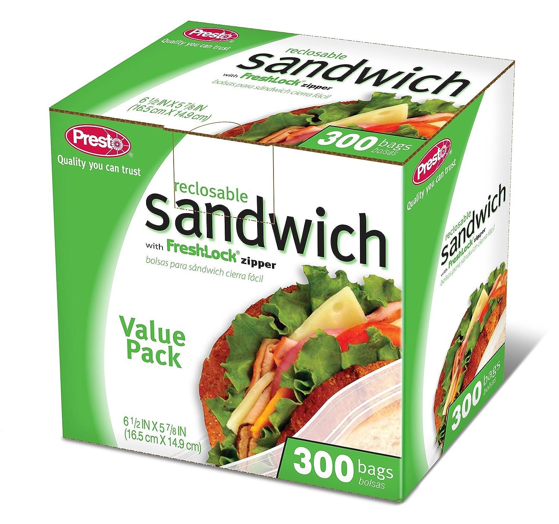 Presto Sandwich Bolsas Cierre de Cremallera Bolsas de 300 ...