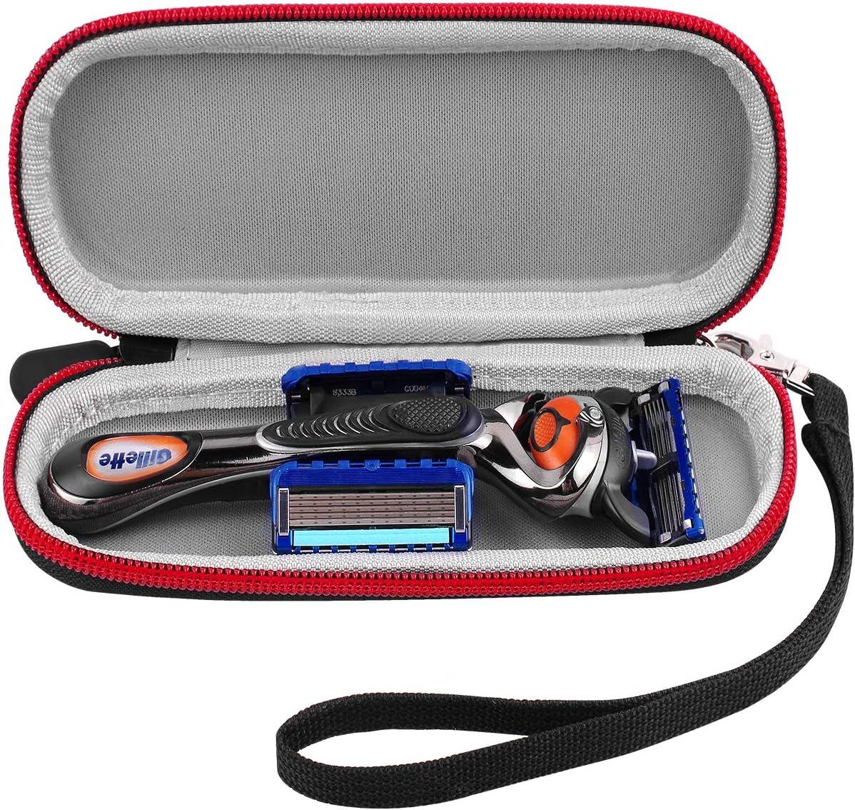 Case Compatible for Gillette ProGlide/Shield/Chill/Power/Fusion Proglide Manual/ Fusion5 Men's Razor Handle with 2 Blade Refills. Razor Carrying Travel Organizer Box Come with Hard Hand Strap