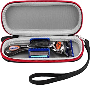 Case Compatible for Gillette ProGlide/Shield/Chill/Power/Fusion Proglide Manual/ Fusion5 Men's Razor Handle with 2 Blade Refills. Razor Carrying Travel Organizer Box Come with Hard Hand Strap