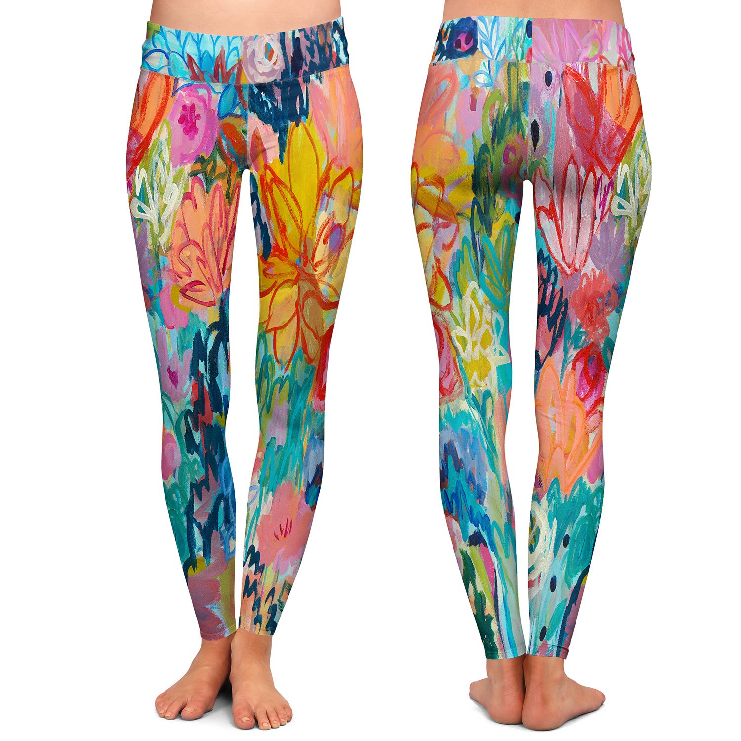 Athletic Yoga Leggings from DiaNoche Designs by artist Carrie Schmitt - Exhalation at Amazon Womens Clothing store: