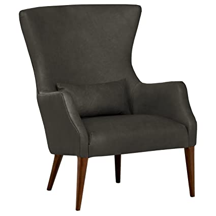 Prime Rivet Parks Mid Century Modern Wingback Leather Accent Chair 30 5W Aged Black Inzonedesignstudio Interior Chair Design Inzonedesignstudiocom