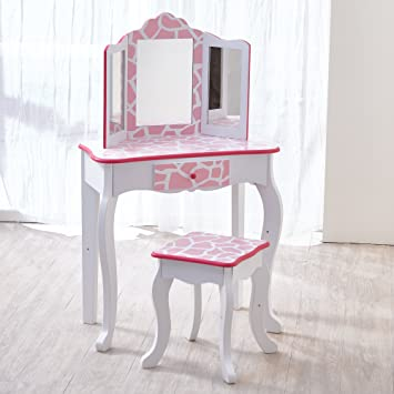 purchase cheap 8a8c3 1f36c Teamson Kids - Fashion Prints Girls Vanity Table and Stool Set with Mirror  - Giraffe (Baby Pink / White)