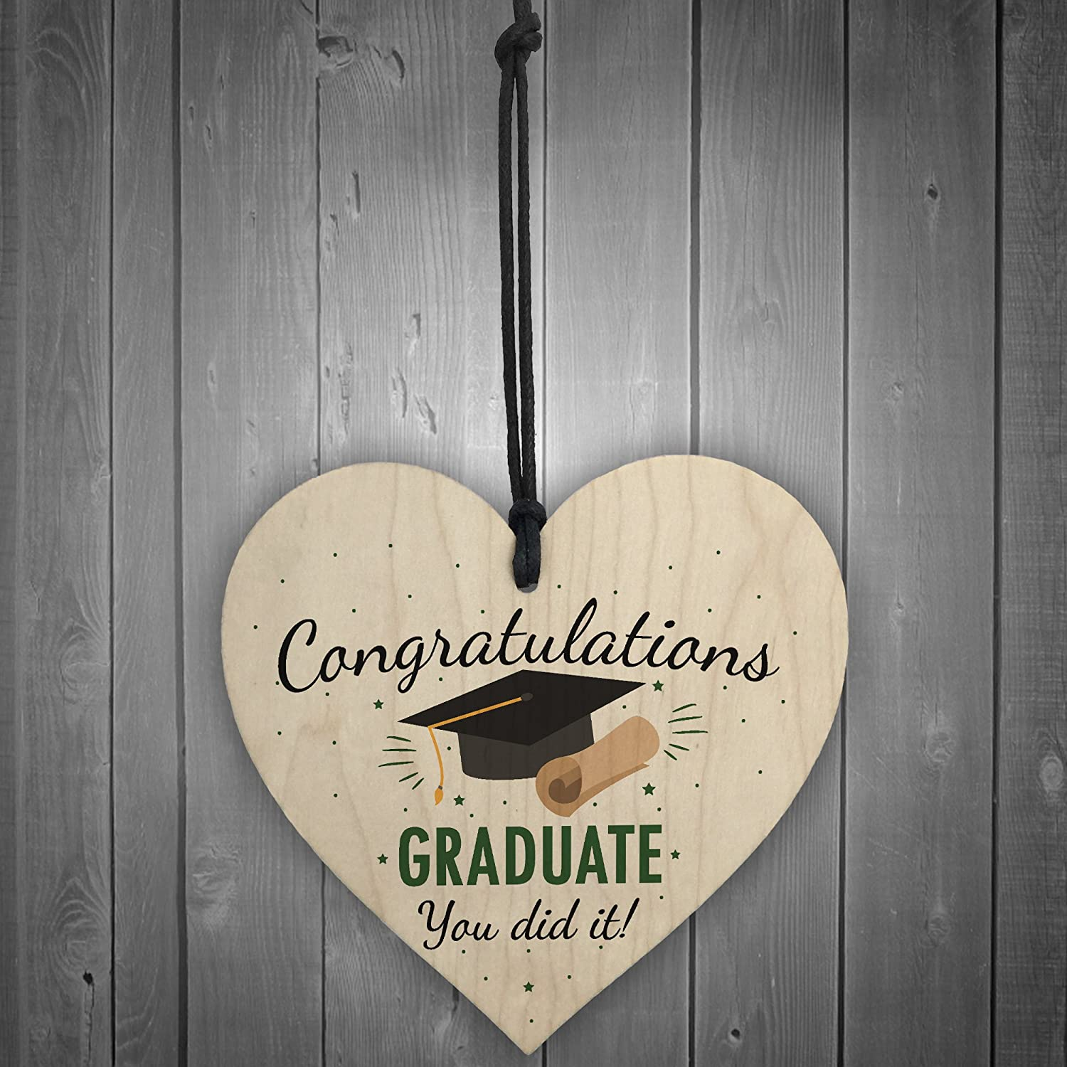 RED OCEAN You Did It Congratulations Gift Wooden Heart Keepsake Gift For Her For Him Graduation Party Decoration