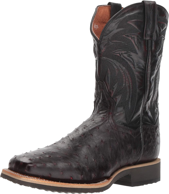 Dan Post Men/'s Philsgood Black Cherry Ostrich Square Toe Western Boots DP3983