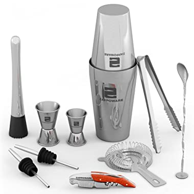 ZAPPOWARE Bartender Kit with Boston Cocktail Shaker - 11 Piece Bar Set - Ideal even as Home Bar Drink Mixing Tool Kit