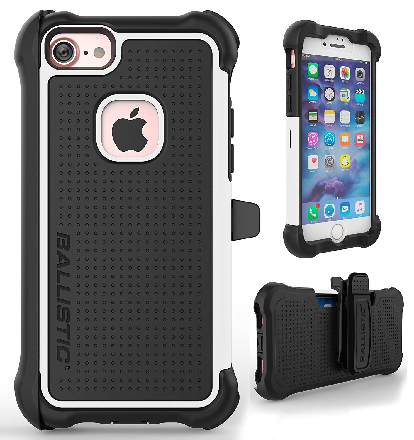 Iphone 7 Case Ballistic Tough Jacket Maxx Heavy Duty Protection Black White Case For Apple Iphone 7 Drop Test Certified 7ft Impact Drop Protection Rugged Rotating Holster Clip Screen Protector