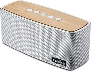 COMISO Bluetooth Speakers, 30W Loud Wood Home Outdoor Wireless Speaker, SubWoofer Tweeters for Super Bass Stereo Sound, 100Ft Bluetooth V4.0 and 12H Playtime (White)
