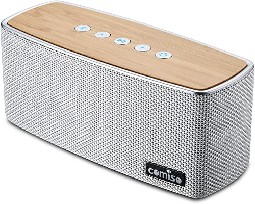 COMISO Bluetooth Speakers, 30W Loud Wood Home Outdoor Wireless Speaker, SubWoofer Tweeters for Super Bass Stereo Sound, 100Ft Bluetooth V4.2 and 12H Playtime