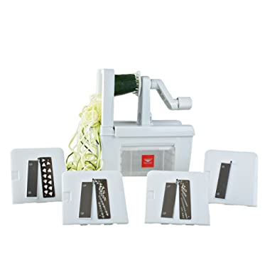 Paderno World Cuisine 4-Blade Folding Vegetable Slicer / Spiralizer Pro, Counter-Mounted and includes 4 Different Stainless Steel Blades