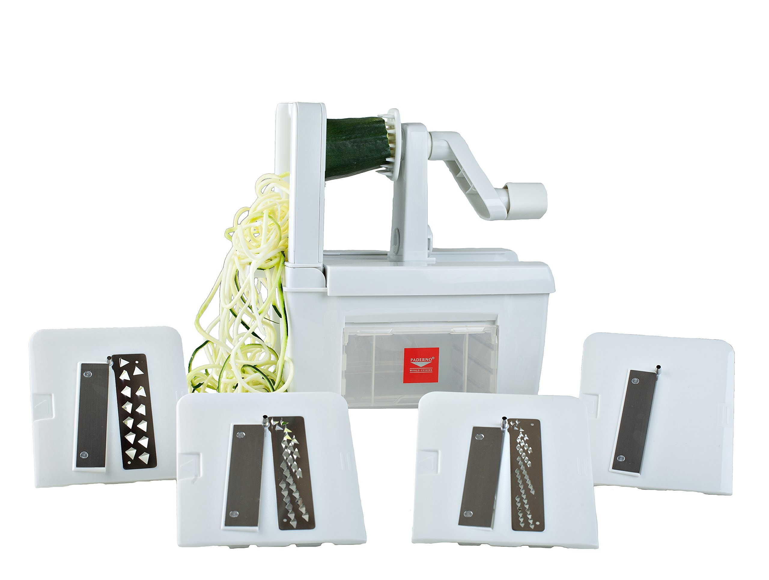 Paderno World Cuisine 4-Blade Folding Vegetable Slicer/Spiralizer Pro, Counter-Mounted and includes 4 Different Stainless Steel Blades
