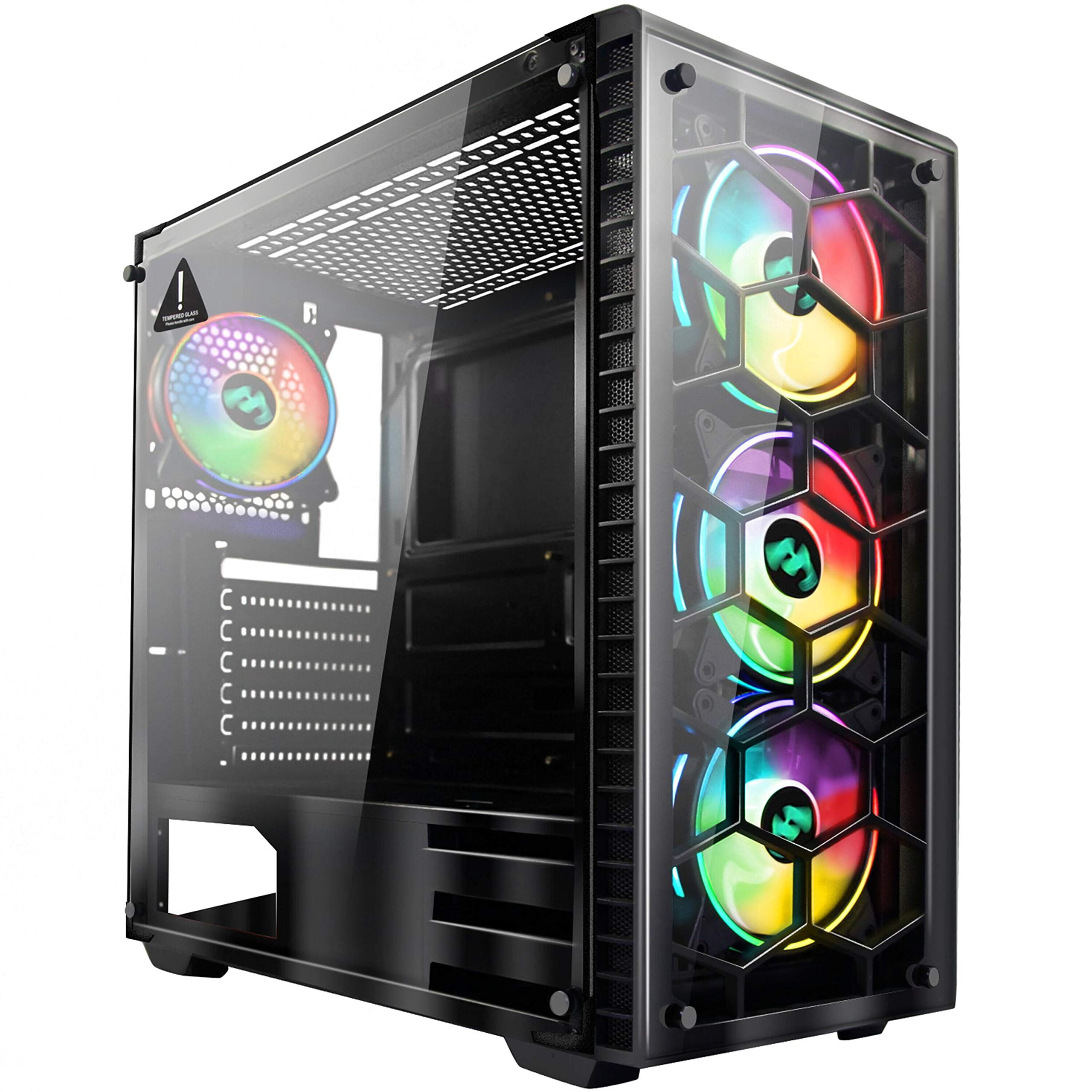 MUSETEX Phantom Black ATX Mid-Tower Desktop Computer Gaming Case USB 3.0 Ports Tempered Glass Windows with 6pcs 120mm Voice Control LED RGB Fans Pre-Installed Remote Control 907