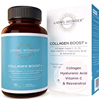 Collagen Pills for Women - Collagen with Hyaluronic Acid Vitamin C & Resveratrol - 180 Collagen Capsules for Women for Dermal Repair Cellulite Hair Nails Anti-Aging - Multi Collagen Capsules Types 123