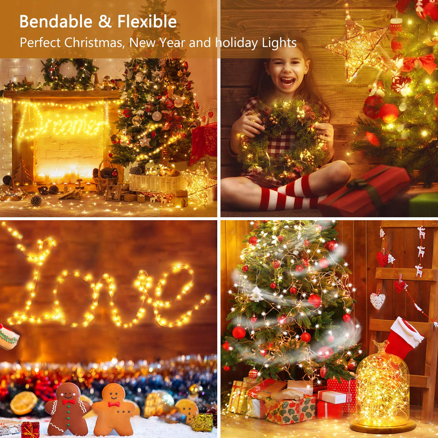 TECBOSS Rechargeable Led String Lights, 2 Pack 50 LED 16.4Ft String Fairy Lights, Battery Operated Lights for Wedding Party Home Garden Bedroom Outdoor Indoor Wall Decorations Christmas Decor
