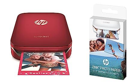 HP Sprocket - Impresora fotográfica portátil, roja + 20 ...