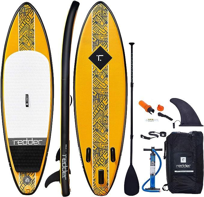 redder Tablas Paddle Surf Hinchables Rouge Doble Capa 9 Surf Tabla Stand Up Paddle - Kit con Bravo Inflador, Carbono y Fibra de Vidrio Pala Ajustable 3 Piezas, Mochila, Kit de Reparación:
