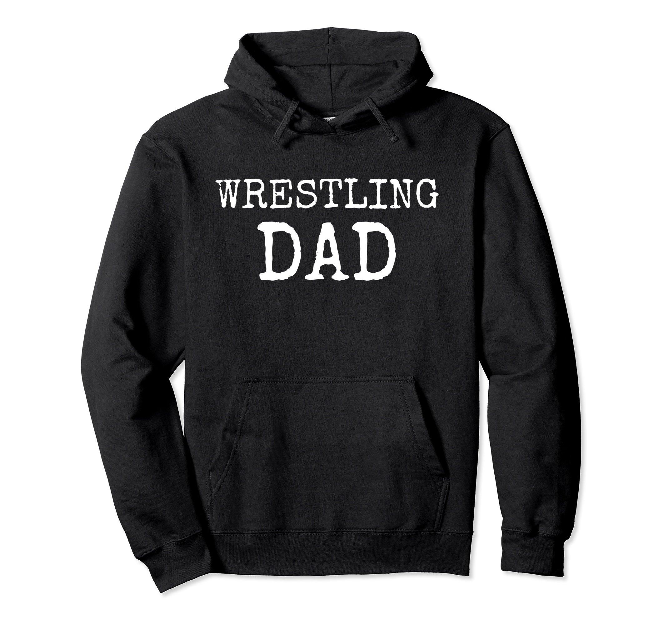 Unisex Wrestling Dad Hoodie - Wrestling Dad Hooded Sweatshirt Medium Black by Wrestling Family Tees