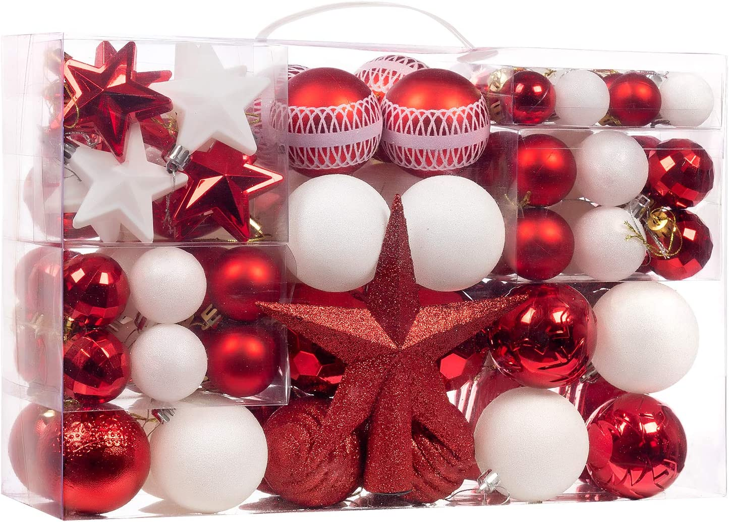 100-Pcs Red&White Christmas Ball Ornaments Assorted Shatterproof Christmas Ball Set with Reusable Hand-held Gift Package for Xmas Tree Decoration