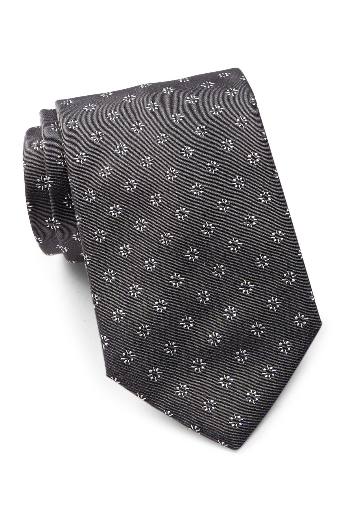 Hugo Boss Men's Patterned Silk Tie, OS, Charcoal