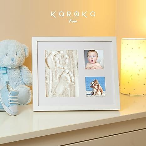Marco huella de mano y pie de bebé para regalo de recién nacidos y bautizo. Kit marco para huellas de bebé. Cuadro para huella de bebé ideal para ...