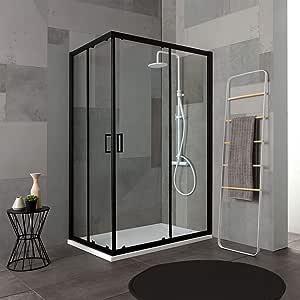 mampara de ducha de 80 X 120 Perfil Negro mate Cristal Transparente | City: Amazon.es: Bricolaje y herramientas