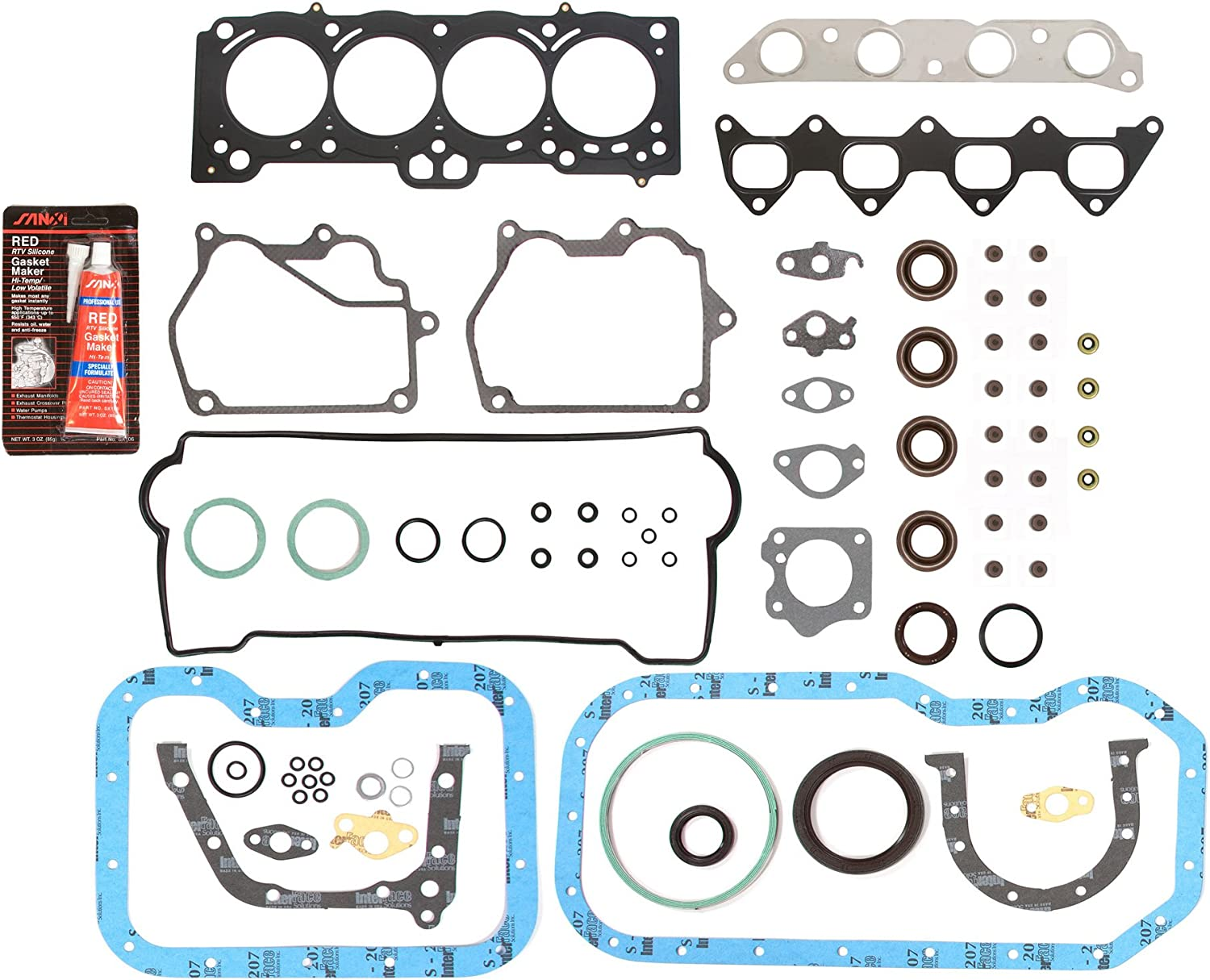 0.010 Oversize Main Rod Bearings Domestic Gaskets Engine Rering Kit FSBRR2015\2\1\1 Fits 93-97 Toyota Celica Corolla Geo 1.8 DOHC 7AFE Full Gasket Set 0.50mm 0.25mm 0.020 Oversize Piston Rings