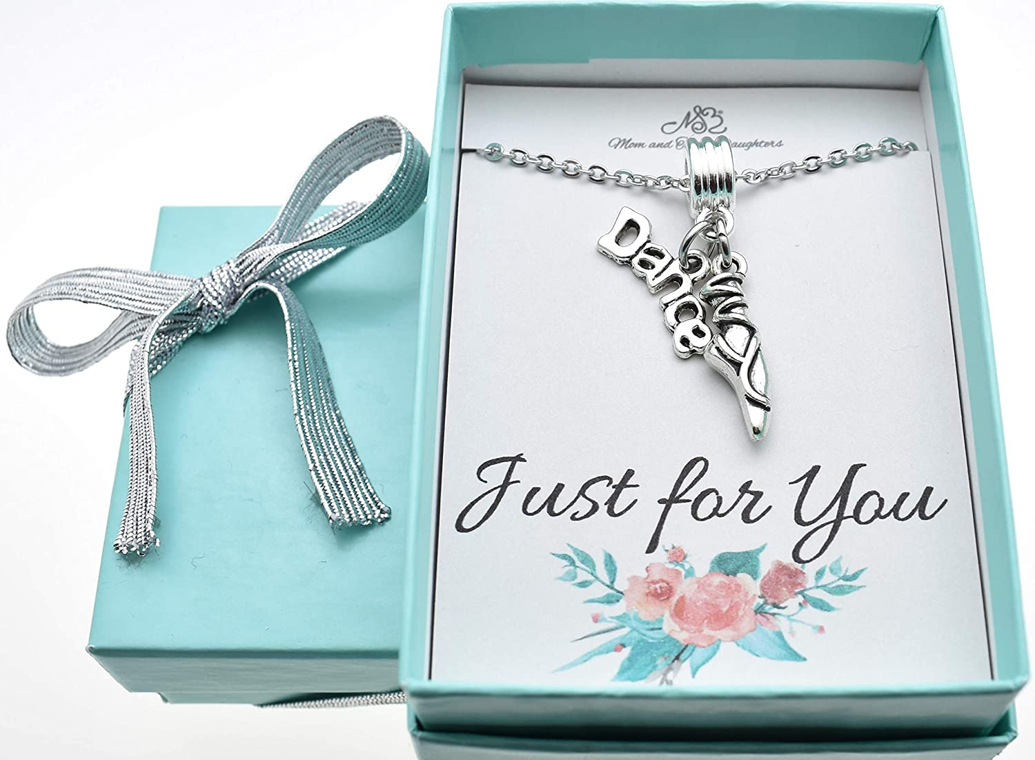 Little girls dance ballet slippers necklace in silver toned metal on a 14 stainless steel cable chain with two inch extender Dance Gift.