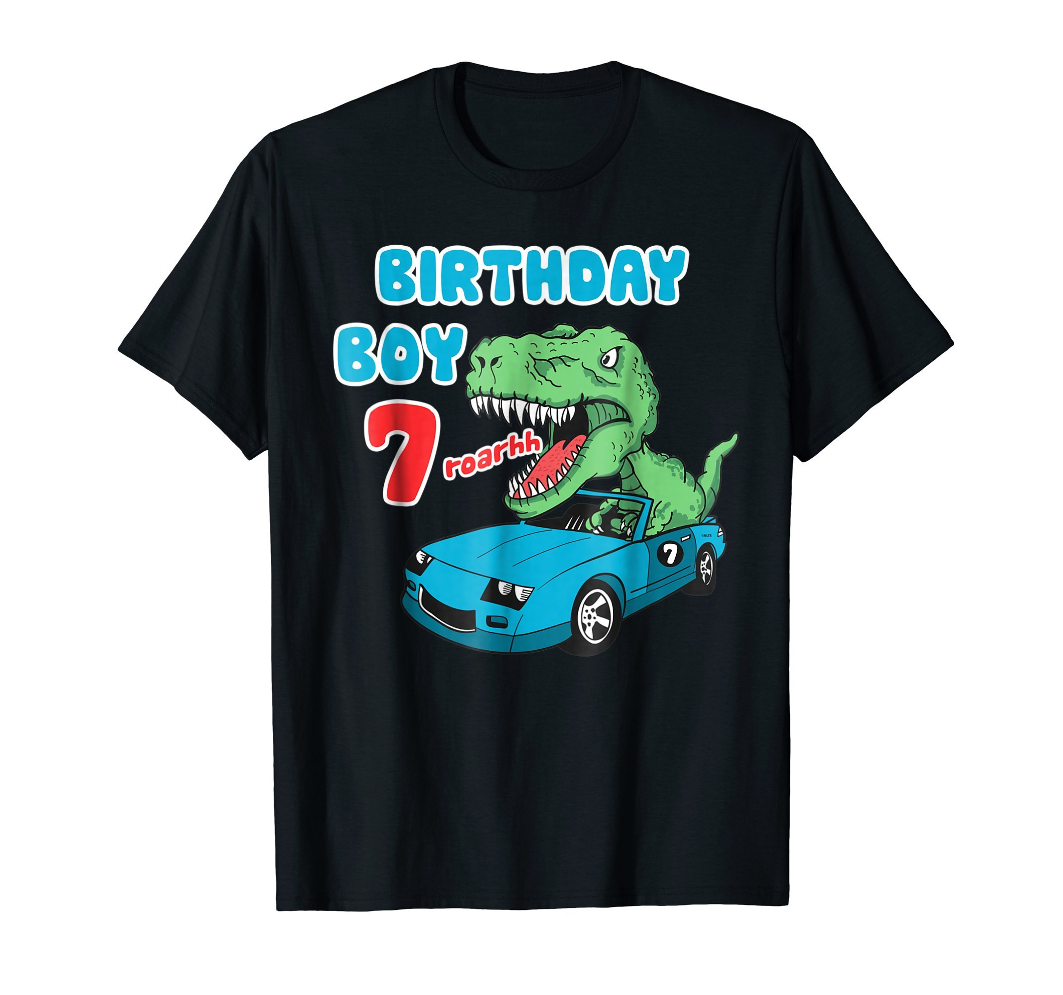 Dinosaur-Racer-Birthday-Boy-7th-Birthday-Fun-Humor-T-Shirt-T