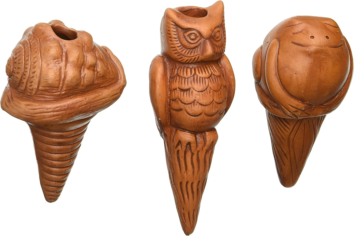 The Crabby Nook Watering Stakes Patio Terracotta Owl Sea Shell Frog Potted Plant, Garden Pots Decor, Set of 3