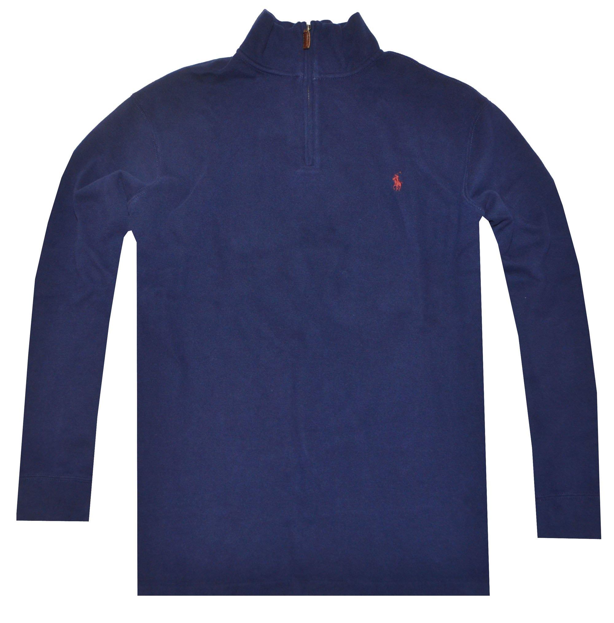 Polo Ralph Lauren Mens Half Zip French Rib Cotton Sweater (X-Large, Navy)