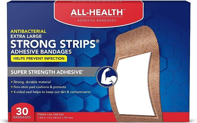 All-Health Strong Strips Antibacterial Heavy-Duty Adhesive Bandages, 1-3/4 inch, 30 Count: Amazon.com.mx: Salud y Cuidado Personal