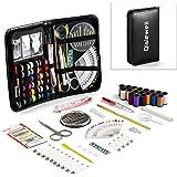 Kit Cucito professionale Qisiewell 80 Accessori Set da Cucito Emergenza Per Viaggiare o Per Principianti di Alta Qualità Zipper Cucire kit(Nero)