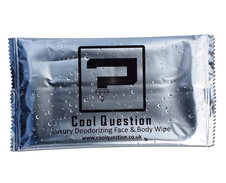Cool Question confezionati singolarmente di lusso Deodorante Viso & Corpo Salviettine umidificate–Sport, Festival, Camping, Ciclismo, Viaggi (Confezione da 50)