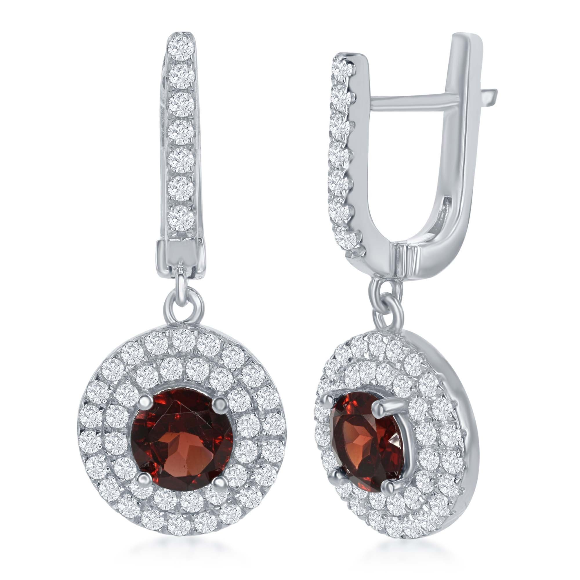 Sterling Silver High Polish Round White Topaz with Center Garnet Gemstone Earrings by Beaux Bijoux