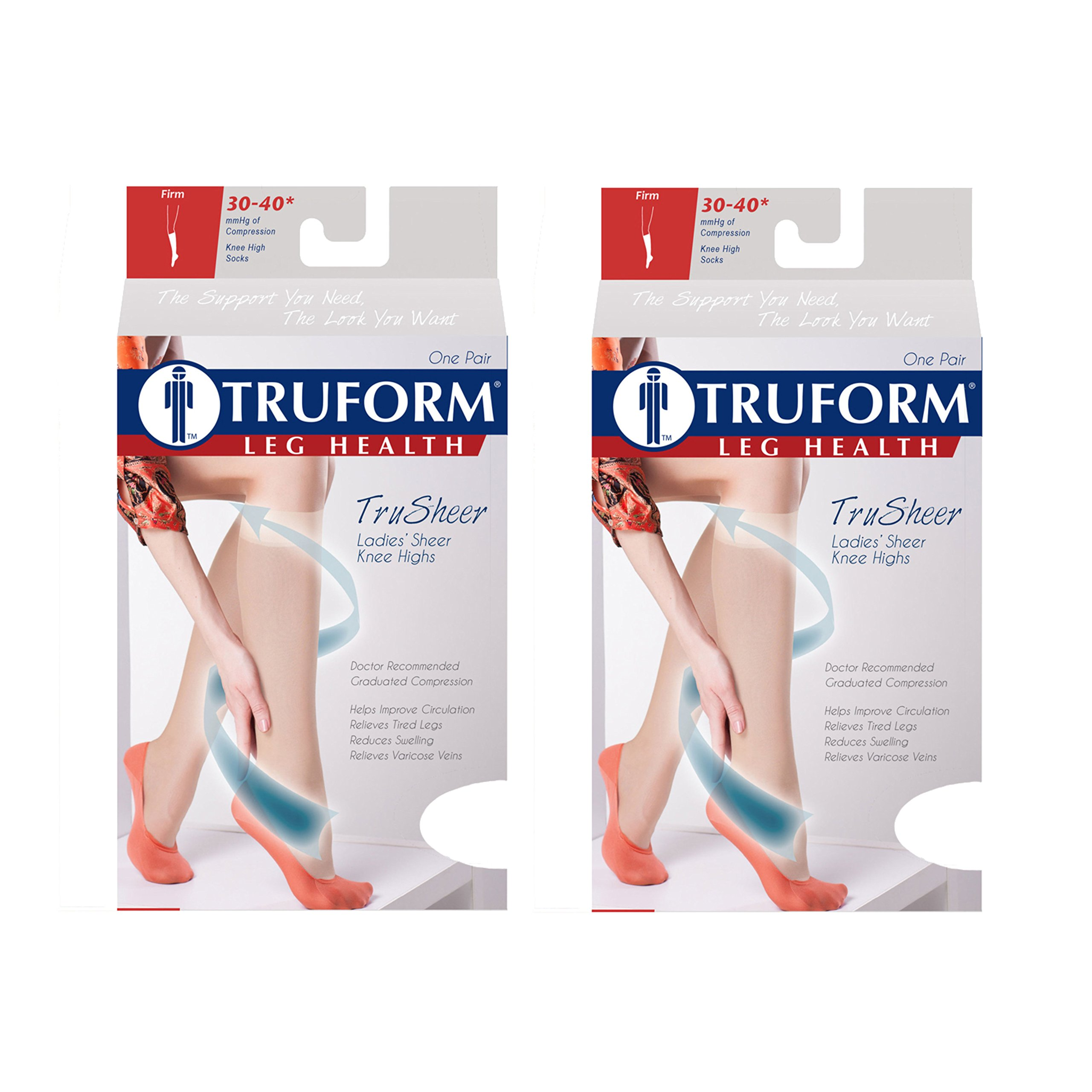 Truform Compression 30-40 mmHg Sheer Knee High Stockings Black, Large, 2 Count