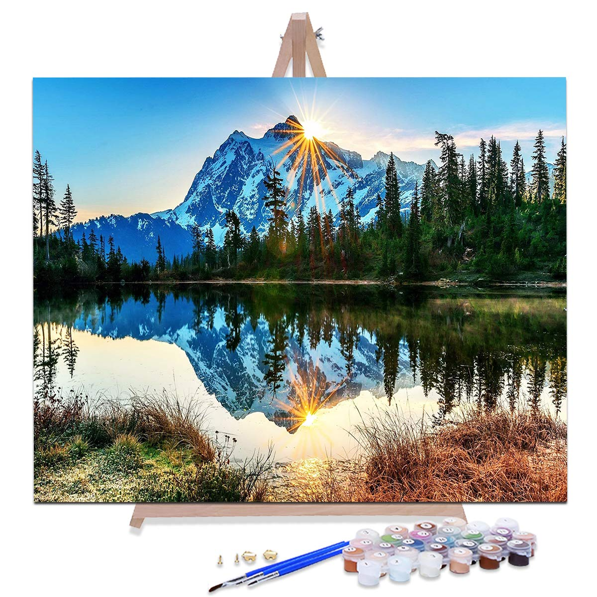 AOLIGE DIY Plaid Oil Paint by Numbers for Adults Acrylic Canvas Framed and Easel 16'' x 20'' (Silent Mountain Lake) by AOLIGE