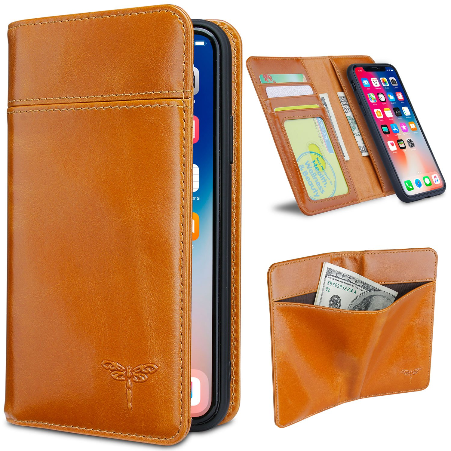 iPhone X Wallet Case, Genuine Leather iPhone X Case FRIFUN Detachable Magnetic Flip Folio Phone Cover with Card Slots Holder and TPU Full Protection Case for iPhone X/ iPhone 10 (5.8inch) Brown