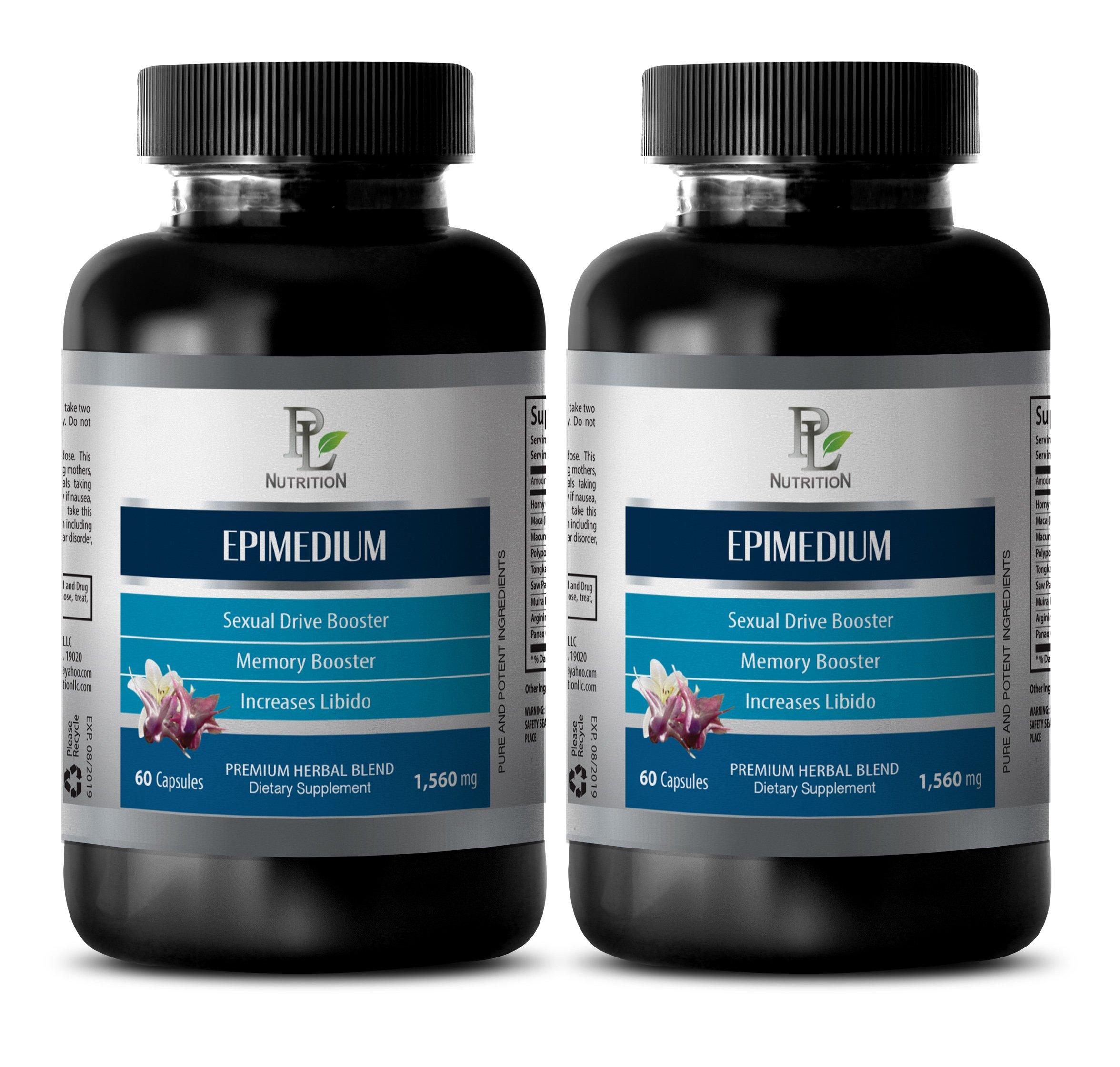 enhancement women - EPIMEDIUM 1560MG - horny goat weed extract with maca - 2 Bottles (120 Capsules)