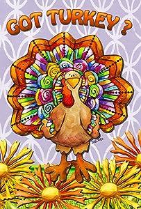 Toland Home Garden Got Turkey 28 x 40 Inch Decorative Colorful Fall Autumn Thanksgiving Bird Flower House Flag