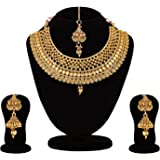 APARA Golden Copper Bridal Choker Necklace with Maang Tikka for Women and Girls