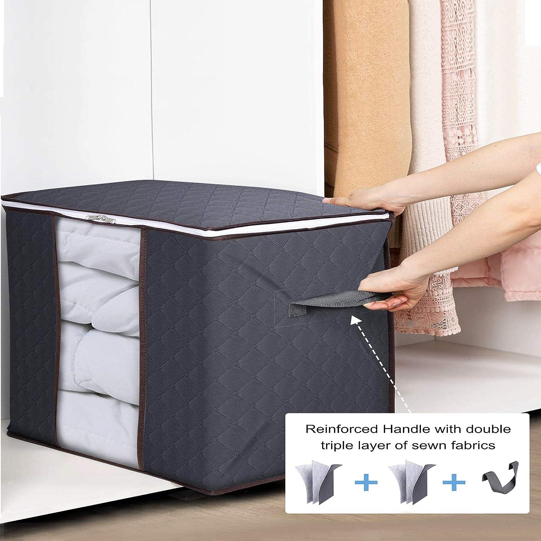 3er-Pack mit verst/ärktem Griff dicker Stoff f/ür Bettdecken Decken 90 l transparentes Fenster TAVOLOZZA Aufbewahrungstasche f/ür Kleidung faltbar mit stabilem Rei/ßverschluss grau Bettw/äsche