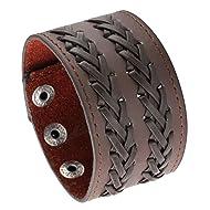MILAKOO Black Metal Spike Studded Punk Rock Biker Wide Strap Leather Bracelet Chain Wristband Adjustable