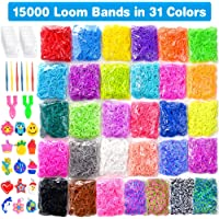 15000 Loom Bands in 31 Colors Rubber Loom Band Refill Kit for Boy Girl Weaving DIY Craft Gift Set Include: 13000+ Premium Quality Loom Bands in 31 Colors + 500 Cute Clips+ 6 Hooks + 30 Charms