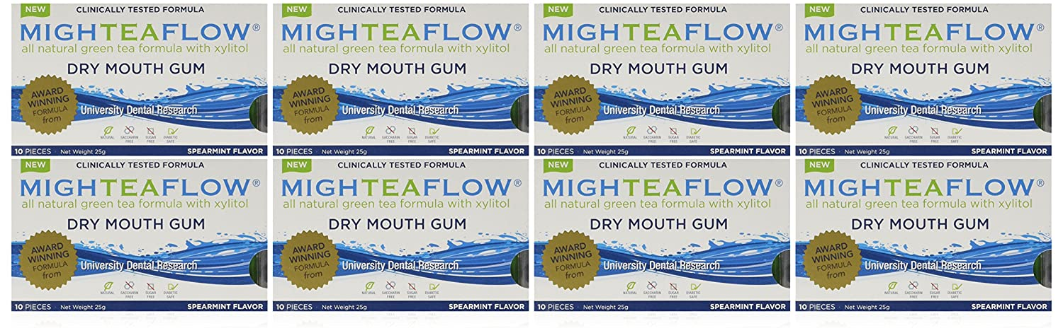 MighTeaFlow Spearmint Dry Mouth Chewing Gum (Case of 8 Packs) Camellix