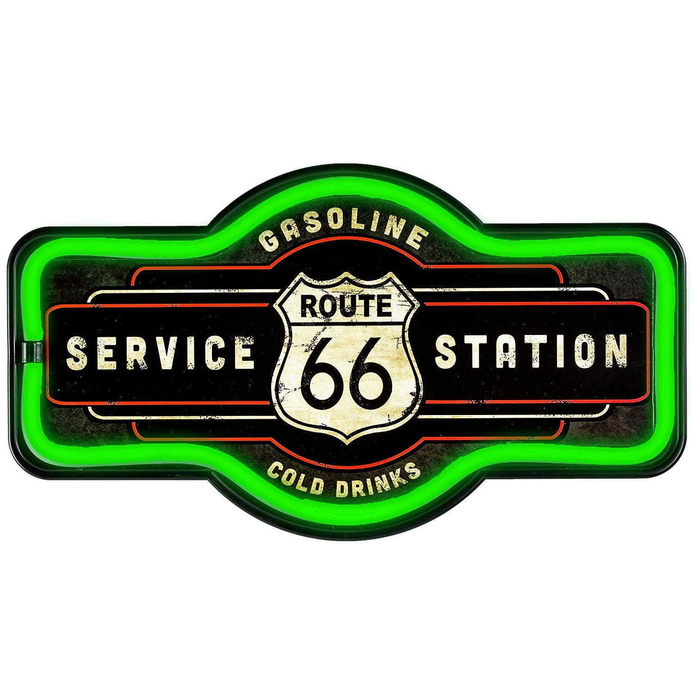 9,5 x 17 x 1,5 D Wanddekoration f/ür Bar Mehrfarbig Crystal Art Lizenzprodukt Route 66 Service Station Neon-Licht-Schild Garage oder M/ännerh/öhle