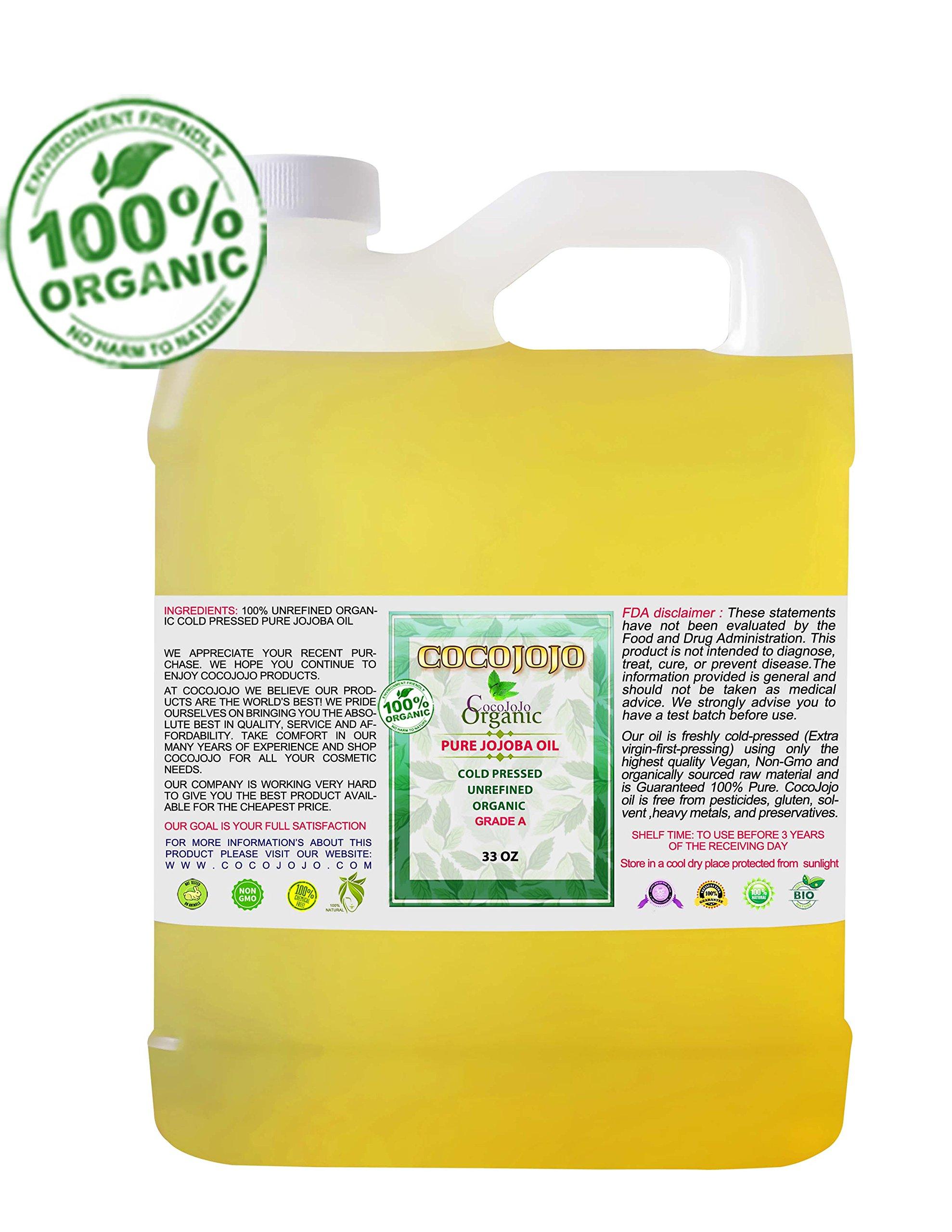 Jojoba Oil Organic Cold Pressed 100% Pure Natural 33 oz Face Hair - Beard - Skin - Body - Lips - Extra Virgin - Unrefined -Golden Fresh Cut