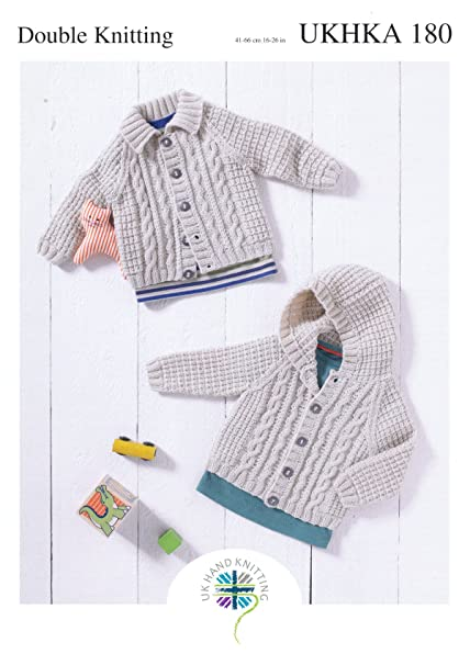 08a9760c71fd Double Knitting Pattern for Baby Hooded or Flat Collared Cable Knit ...
