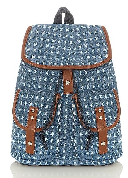 malito Mujeres Bolso de colores de Moda Muchos Patrones Mochila Cartera R800 (azul 2350)