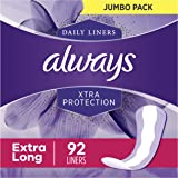 Always Xtra Protection Dailies Feminine Panty Liners for Women, Extra Long, 368 Count, Unscented (92 Count, Pack of 4…