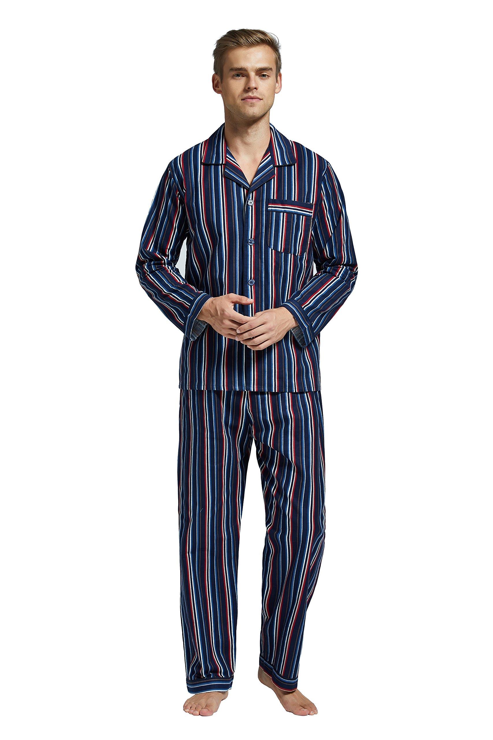 TONY AND CANDICE Men's Flannel Pajama Set, 100% Cotton Long Sleeve Sleepwear (Medium, Multicolor Striped)