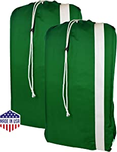 """B&C Nylon Laundry Bag with Shoulder Strap - 30"""" X 40"""" - 100% Nylon, for Heavy Duty Use, College Laundry Bags, Laundromat and Household Storage, Machine Washable - Made in The USA (Green Pack of 2)"""